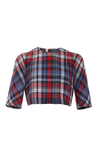 Medium thom browne navy cropped crewneck shirt
