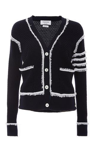 Medium thom browne navy fine merino wool v neck cardigan