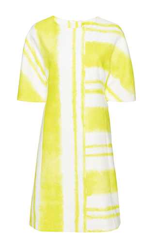 Medium carolina herrera yellow short kimono sleeve a line dress