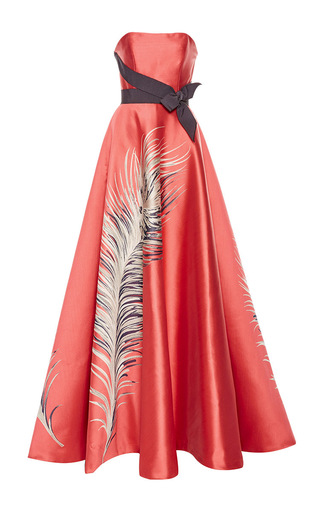 Medium carolina herrera coral strapless feather jacquard ball gown
