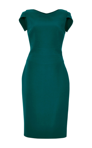 Green Cap Sleeved Pencil Dress by ANTONIO BERARDI Now Available on Moda Operandi