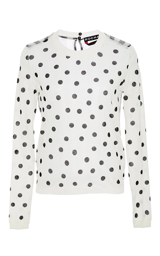 Cotton Polka Dot Sweater With Checkered Back by ROCHAS Now Available on Moda Operandi