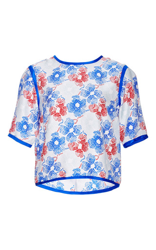 Serena Silk Printed Top With Piping by PIAMITA Now Available on Moda Operandi