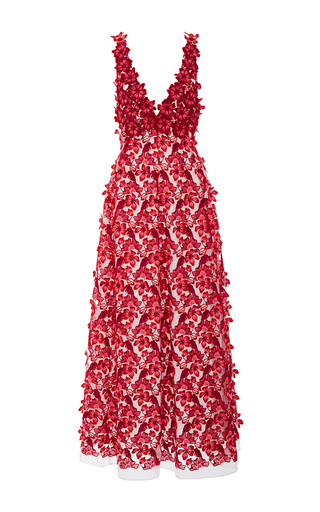 Floral Appliqué Maxi Dress by GIAMBA Now Available on Moda Operandi