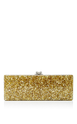 Medium edie parker gold flavia ribbon long rectangular clutch