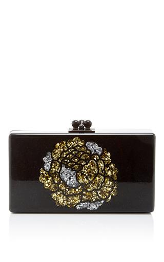 Medium edie parker black jean rosebud short rectangular box clutch