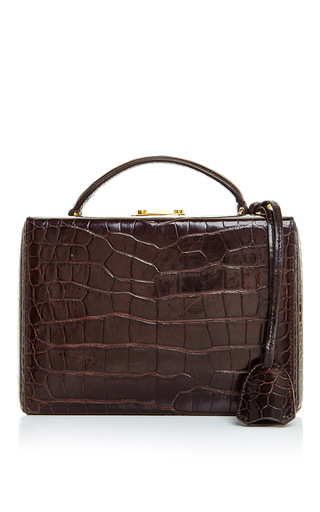 Medium mark cross brown grace small box bag in brown crocodile