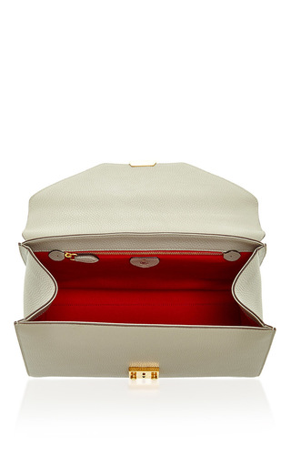Hadley Medium Flap In Dove Pebble Grain Leather by MARK CROSS Now Available on Moda Operandi