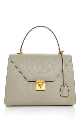 Medium mark cross light grey hadley medium flap in dove pebble grain leather