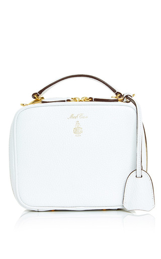 Medium mark cross white baby laura in white pebble grain leather