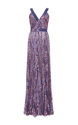 Medium j mendel royal blue printed fil coupe chiffon gown