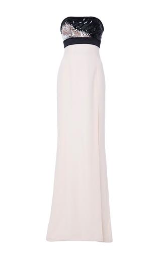 Medium j mendel light pink embroidered silk strapless gown