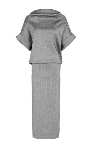 Medium maticevski dark grey illusive off shoulder pencil dress