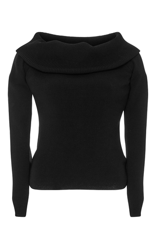 Black Merino Wool Monica Off Shoulder Top by A.L.C. Now Available on Moda Operandi