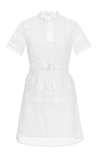 Medium self portrait off white sculptured teardrop dress with lace peplum