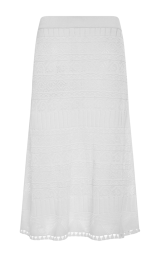 Medium thakoon white white cotton silk crochet midi skirt