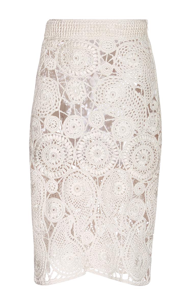 Silk Crochet Paisley Pencil Skirt By Orley Moda Operandi
