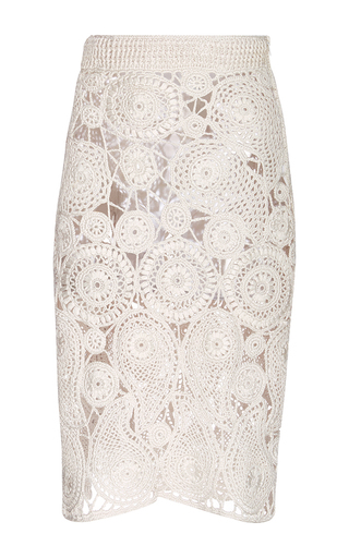 Medium orley ivory silk crochet paisley pencil skirt