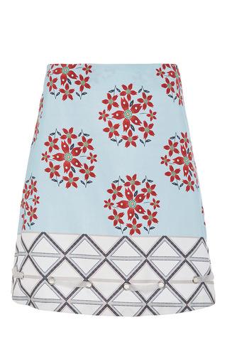 Medium suno print cotton blend printed skirt with grommet detailing