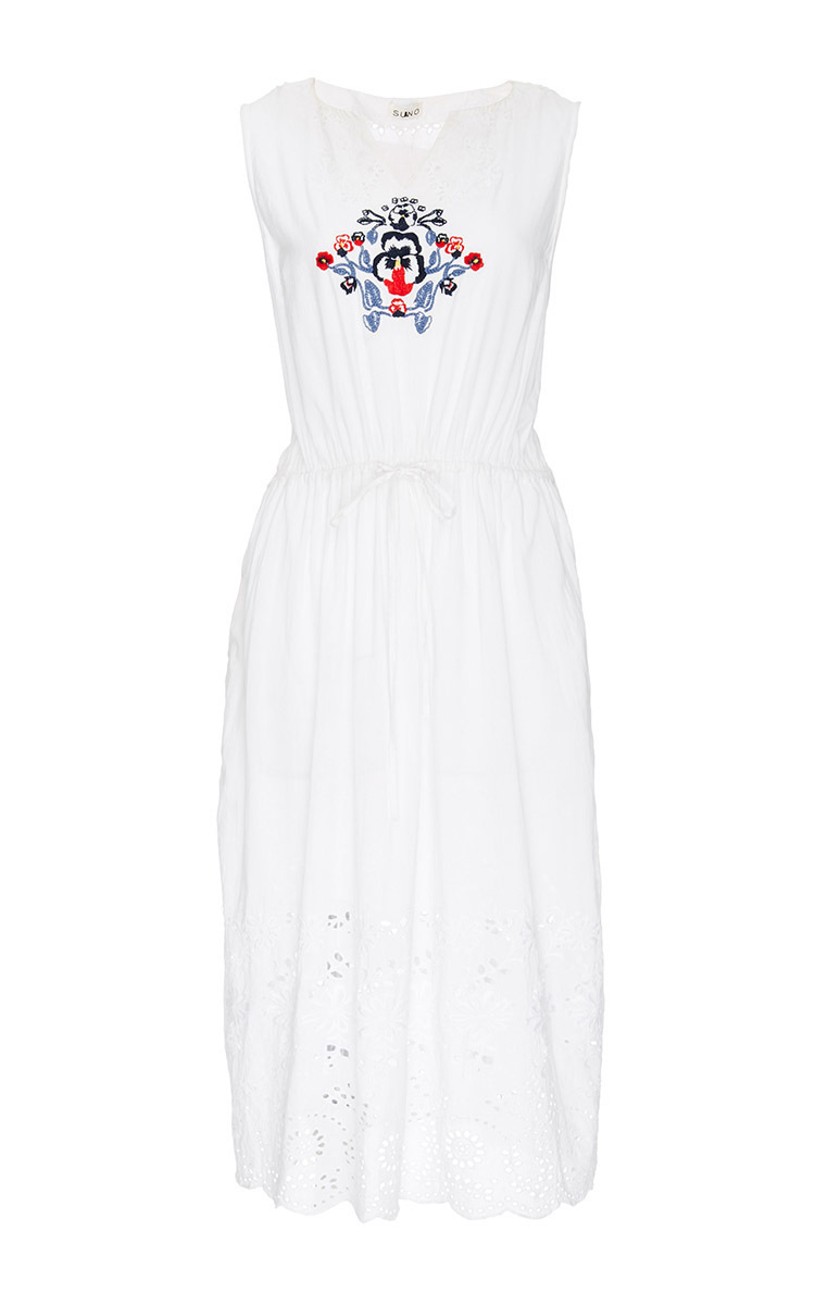 Clothing dresses white cotton embroidered dress with eyelet detail