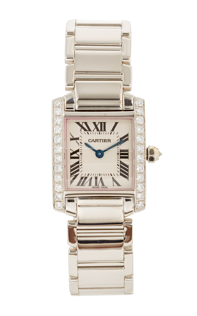18k white gold and diamond vintage cartier small tank
