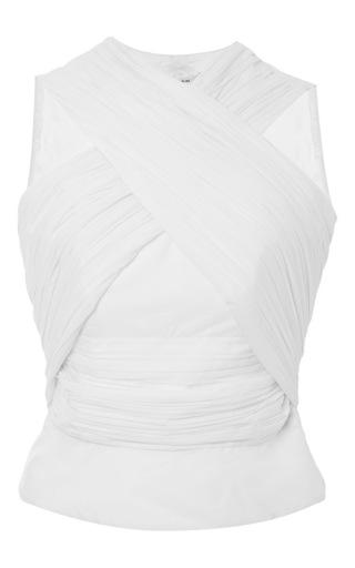 White Satin Criss Crossed Sleeveless Shirt by CARVEN Now Available on Moda Operandi