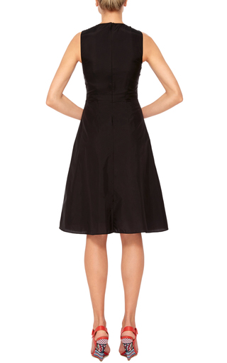 Black Cotton Blend Dress With Criss Cross Neck  by CARVEN Now Available on Moda Operandi