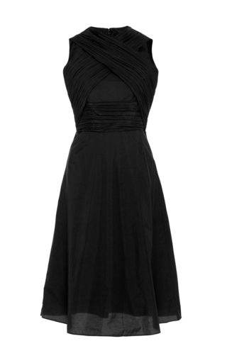 Medium carven black black cotton blend dress with criss cross neck