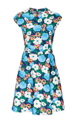Short Sleeved Floral Printed Dress by CARVEN Now Available on Moda Operandi