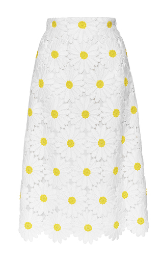 Medium dolce gabbana white cotton blend macrame daisy skirt