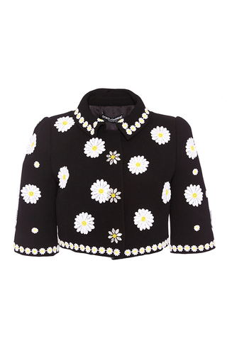 Wool Cropped Jacket With Floral Applique by DOLCE & GABBANA Now Available on Moda Operandi