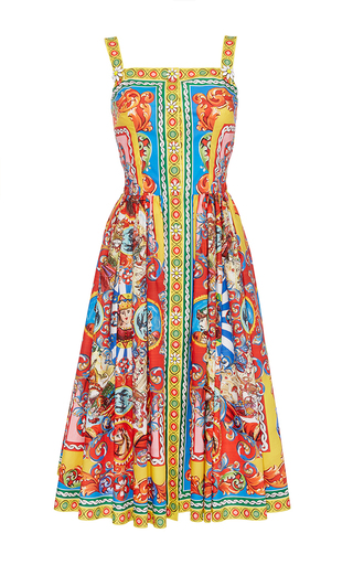 Cotton Multicolor Printed Sleeveless Dress  by DOLCE & GABBANA Now Available on Moda Operandi