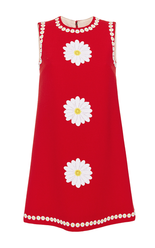 Medium dolce gabbana red wool shift dress with floral applique