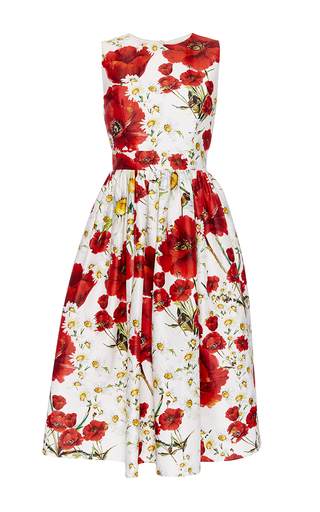 Medium dolce gabbana print cotton silk floral printed dress