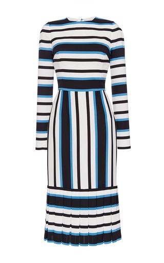 Medium dolce gabbana print silk cotton mid length striped dress