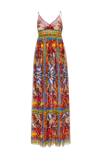 Silk Printed Empire Waisted Maxi Gown by DOLCE & GABBANA Now Available on Moda Operandi