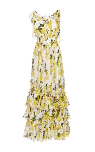 Medium dolce gabbana yellow silk printed gown with layered ruffled hem