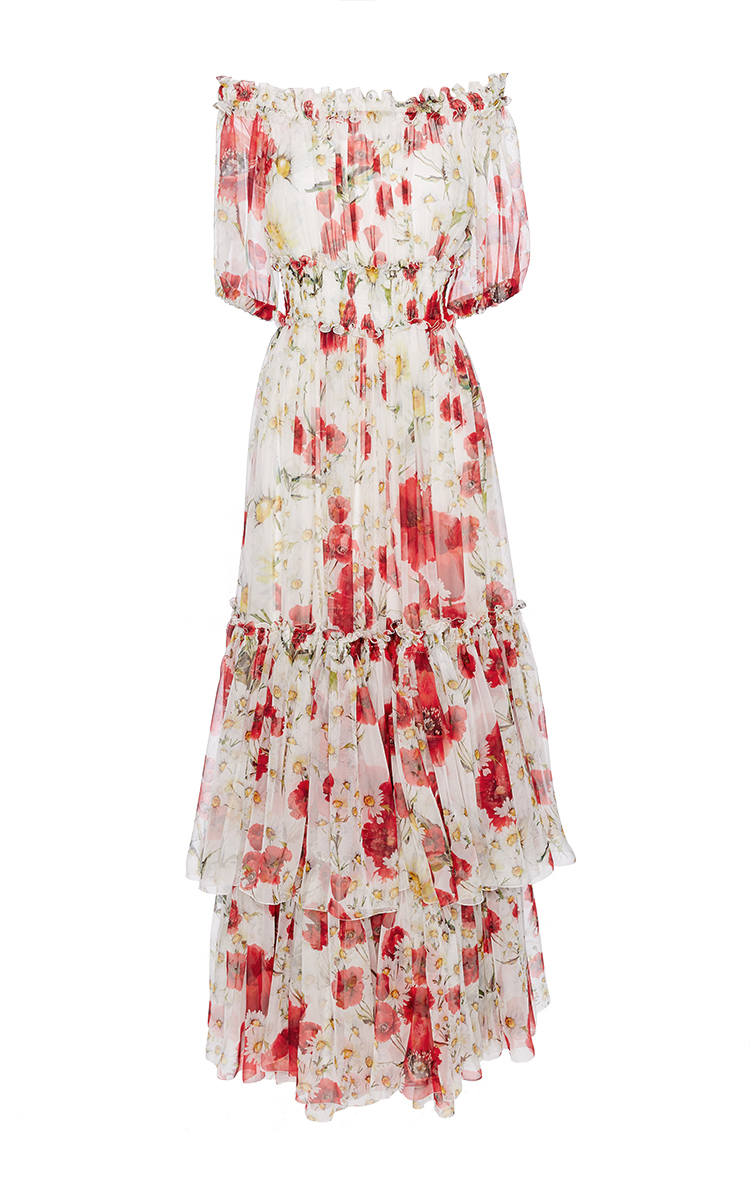 169fb093 Silk Off the Shoulder Floral Dress by Dolce & Gabbana | Moda Operandi