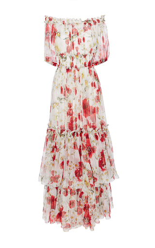 Medium dolce gabbana floral silk off the shoulder floral dress