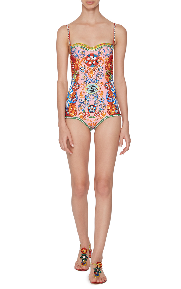 3af7c597b3 Printed Bustier One Piece Swimsuit by Dolce & Gabbana | Moda Operandi