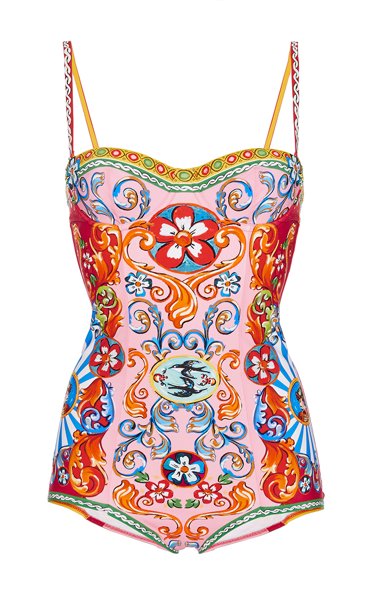 06a4056717 Printed Bustier One Piece Swimsuit by Dolce & Gabbana | Moda Operandi