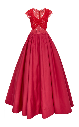 Medium reem acra red lace and silk v neck ball gown