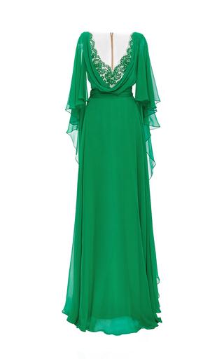 Medium reem acra green silk chiffon caftan gown