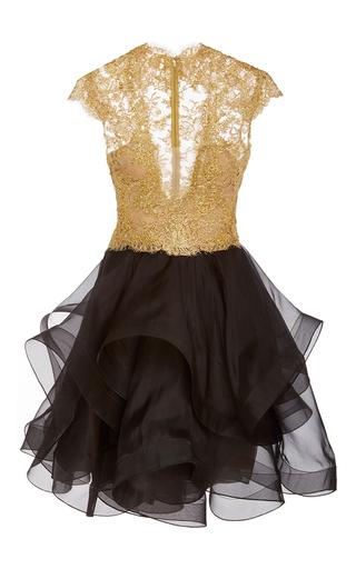 Medium reem acra black embroidered ruffle dress