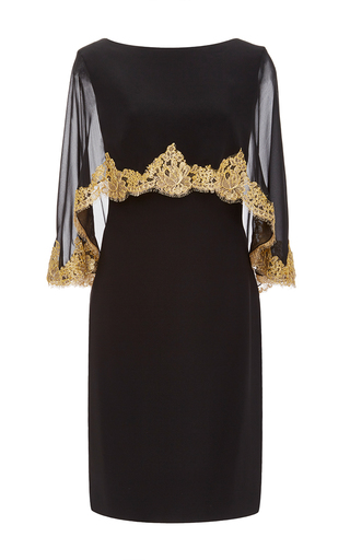 Medium reem acra black embroidered capeline dress