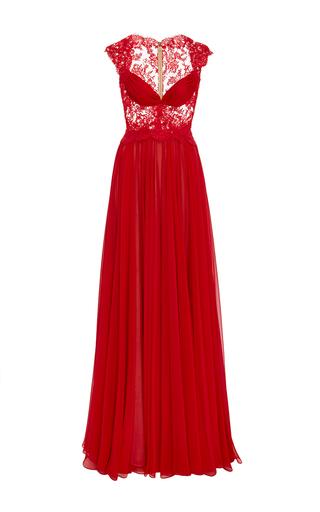 Medium reem acra red silk chiffon cap sleeve gown