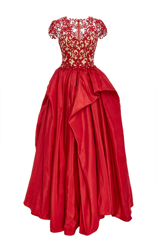 Medium reem acra red embroidered illusion ball gown
