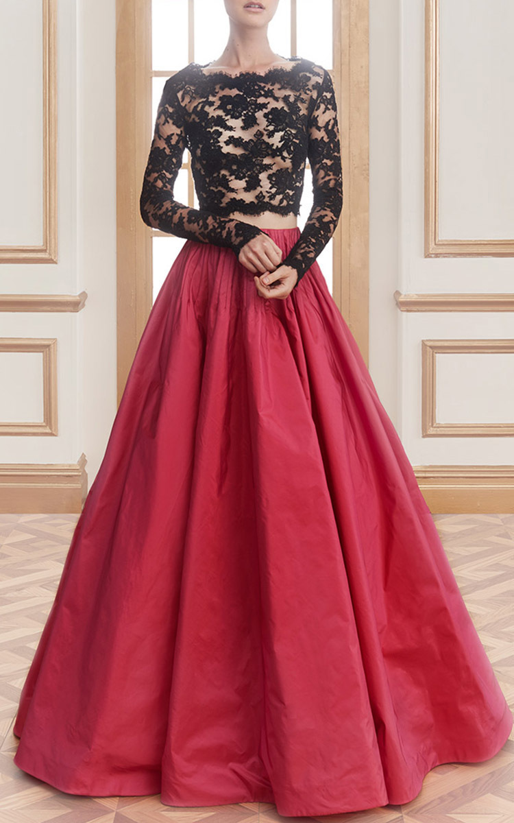 Long Sleeve Re Embroidered Top By Reem Acra Moda Operandi