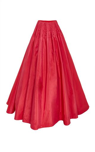 Medium reem acra red silk pintuck ball skirt