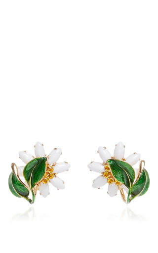 Medium dolce gabbana white crystal and glass edelweiss earrings with leaves